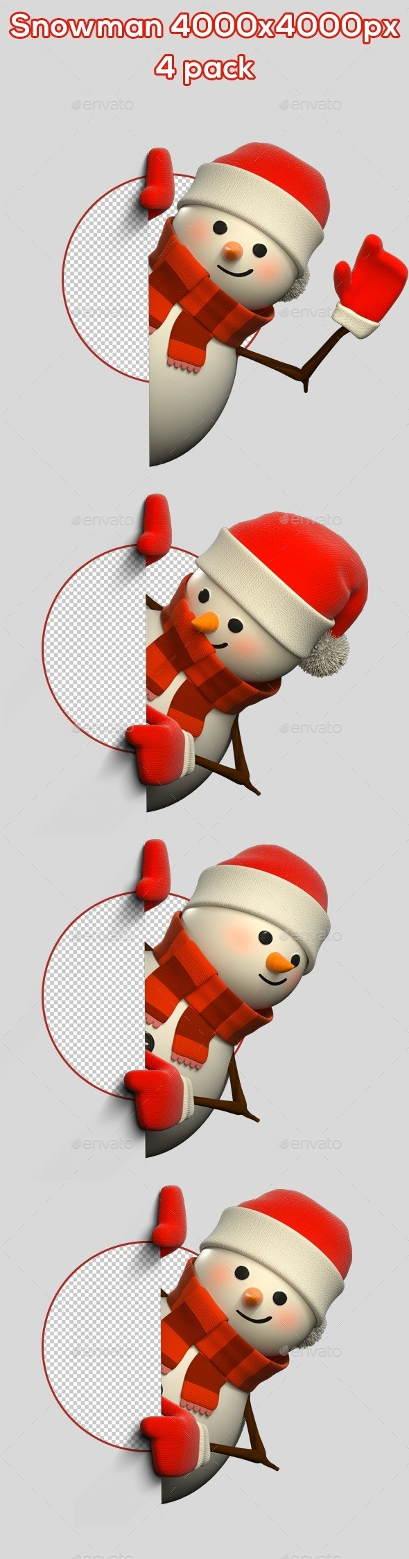 3D Snowman From Side - 4 Pack - Characters 3D Renders