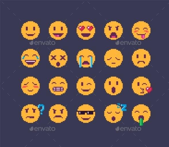 Pixel Art Emoji Icon Set - People Characters