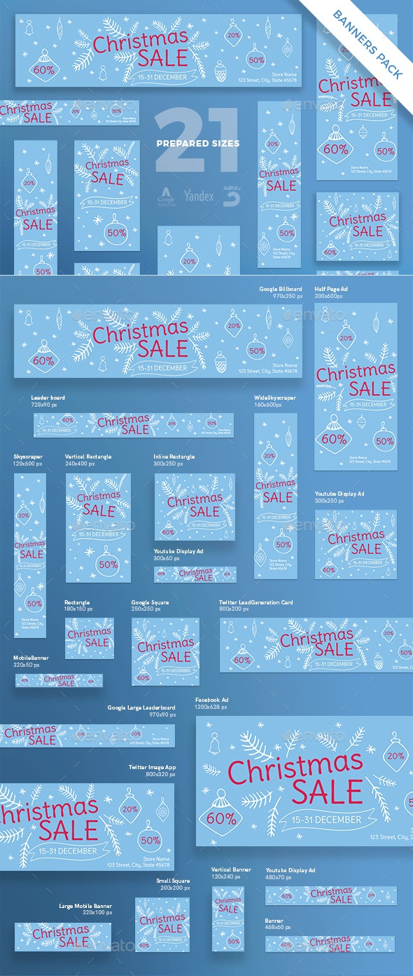 Christmas Sale Banner Pack - Banners & Ads Web Elements