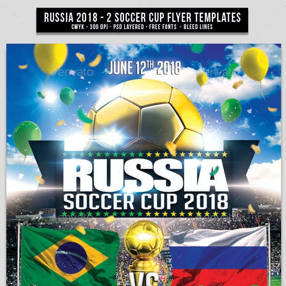 Russia World Soccer Cup 2018 | 2in1 PSD Flyer Templates