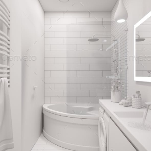 3d Illustration of an Interior Design of a White