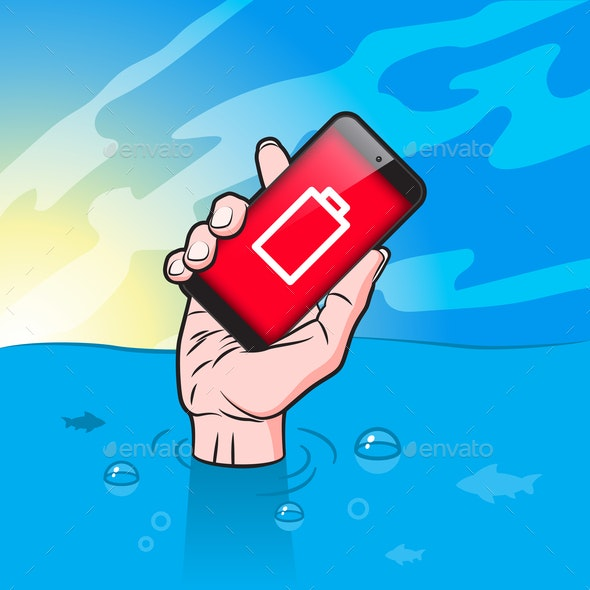 Drowning man with Smartphone in Hand - Business Conceptual
