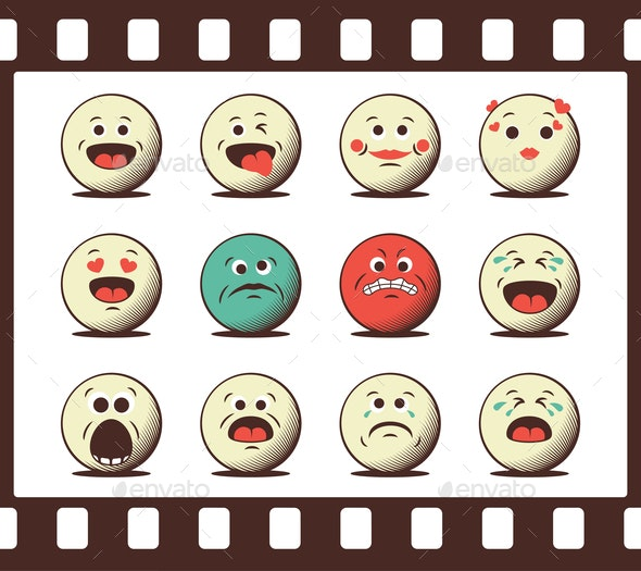 Set of Retro Emoji Emoticons - Miscellaneous Characters