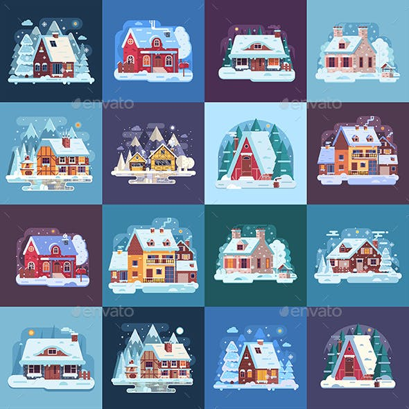 16 Rural Winter Houses and Cabins Landscapes