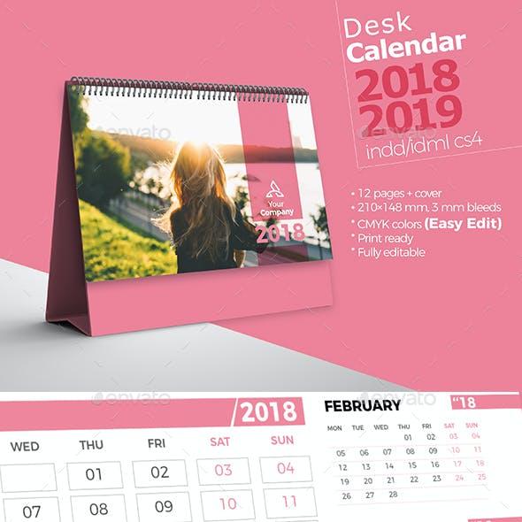 Desk Calendar 2018 2019