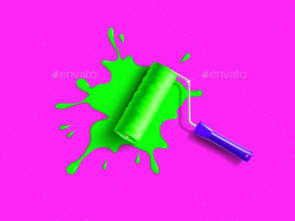 Roller Brush Splash - Miscellaneous Vectors