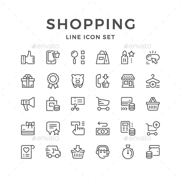 Set Line Icons of Shopping - Man-made objects Objects