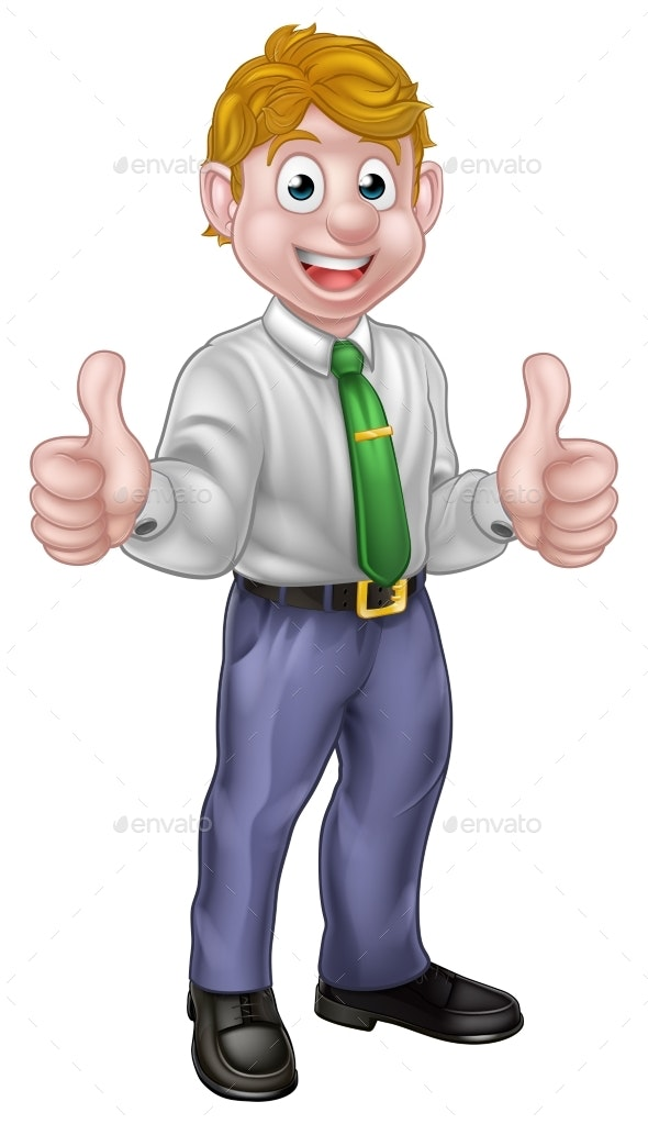 Happy Cartoon Thumbs Up Man - People Characters