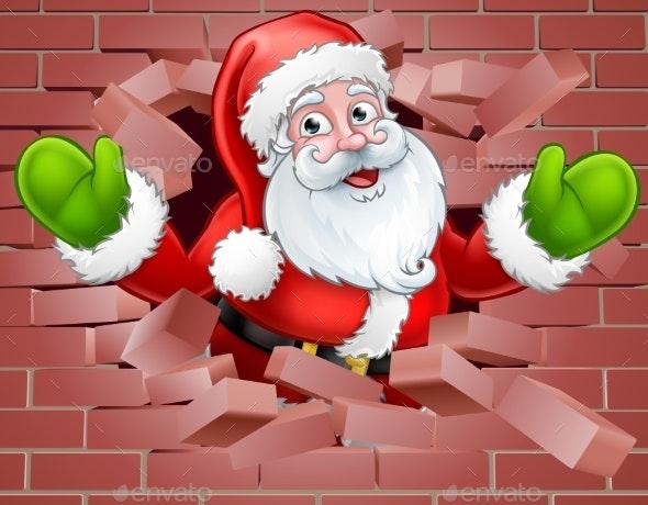 Santa Cartoon Breaking Through a Wall Background - Christmas Seasons/Holidays