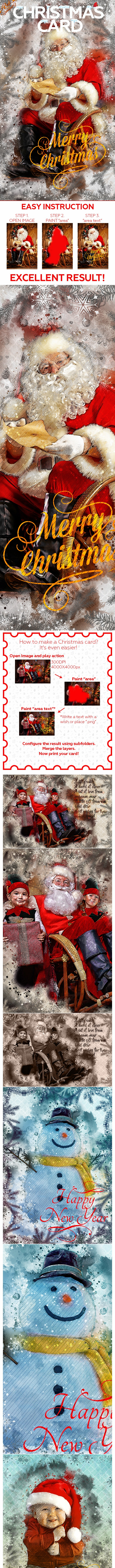 Christmas Card Photoshop Action - Photo Effects Actions