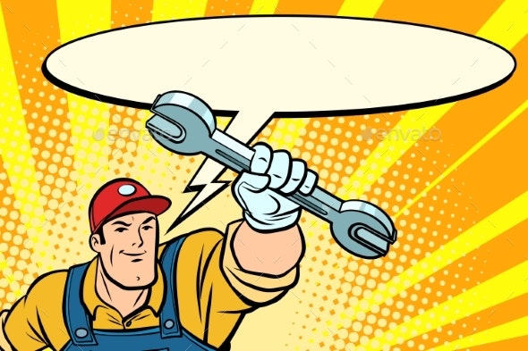 Male Repairman with a Wrench Says Comic Book - People Characters