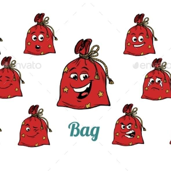 Gift Christmas Bag Emotions Emoticons Set Isolated