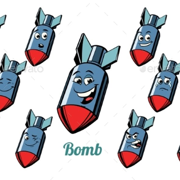 Aircraft Bomb Emotions Emoticons Set Isolated