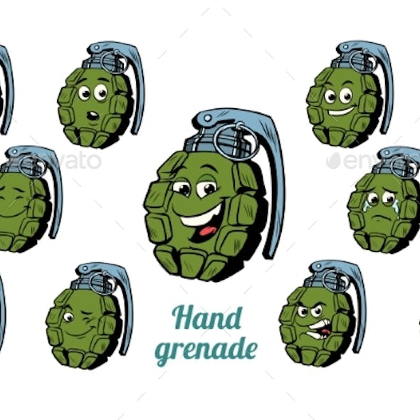 Hand Grenade Emotions Emoticons Set Isolated