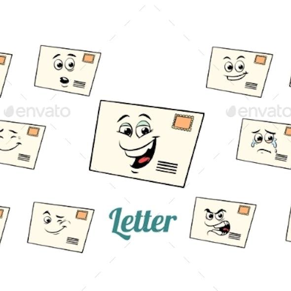 Postal Envelope Letter Emotions Emoticons Set