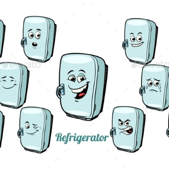 Refrigerator Emotions Emoticons Set