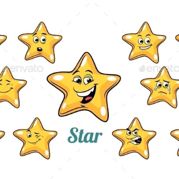 Gold Star Emotions Emoticons Set