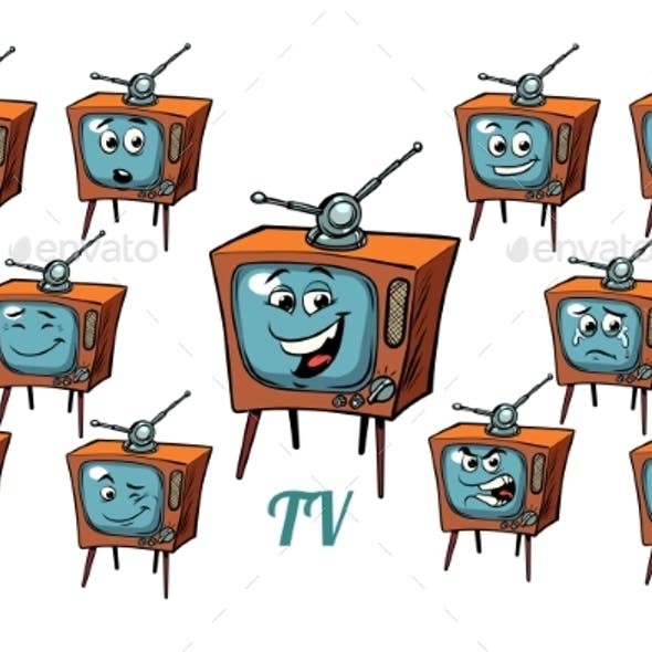 TV Receiver Emotions Emoticons Set Isolated