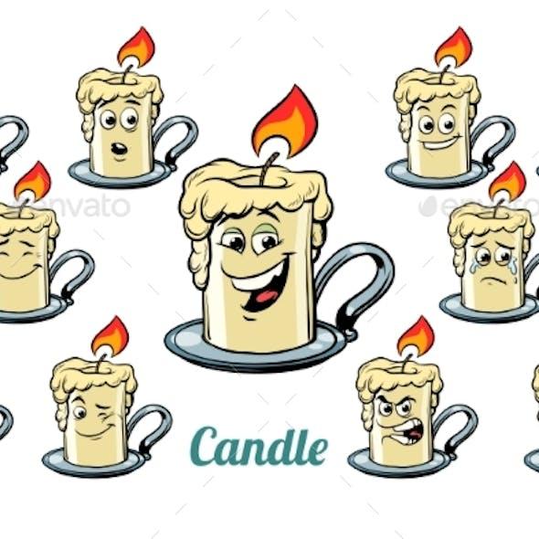 Candle Emotions Emoticons Set Isolated