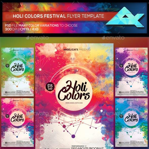 Holi Colors Music Festival Flyer Template