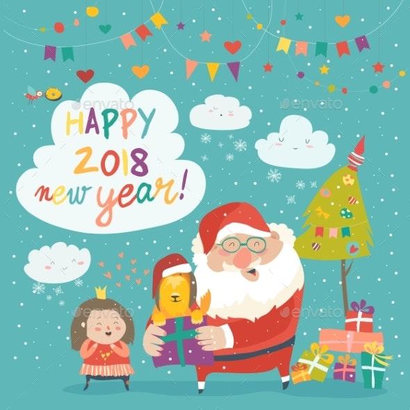 Santa Claus Giving a Gift Box with Dog to Girl - Christmas Seasons/Holidays