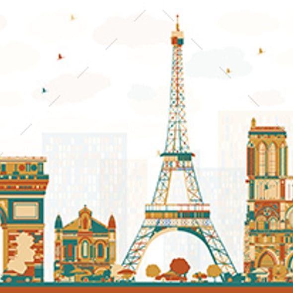 Paris France Skyline with Color Landmarks