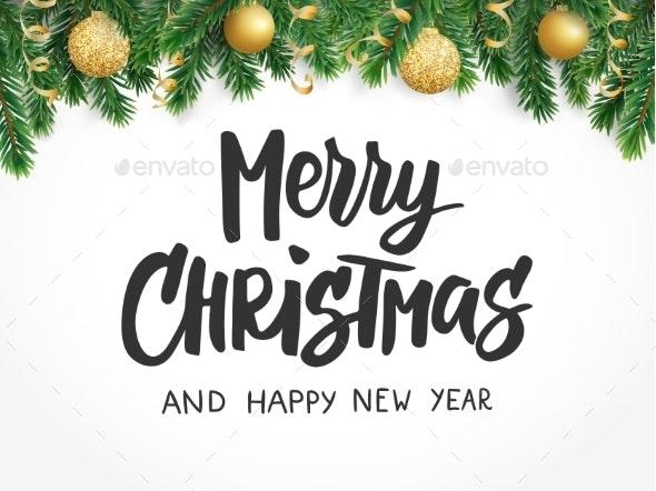 Merry Christmas Text Fir Tree Branches - Christmas Seasons/Holidays
