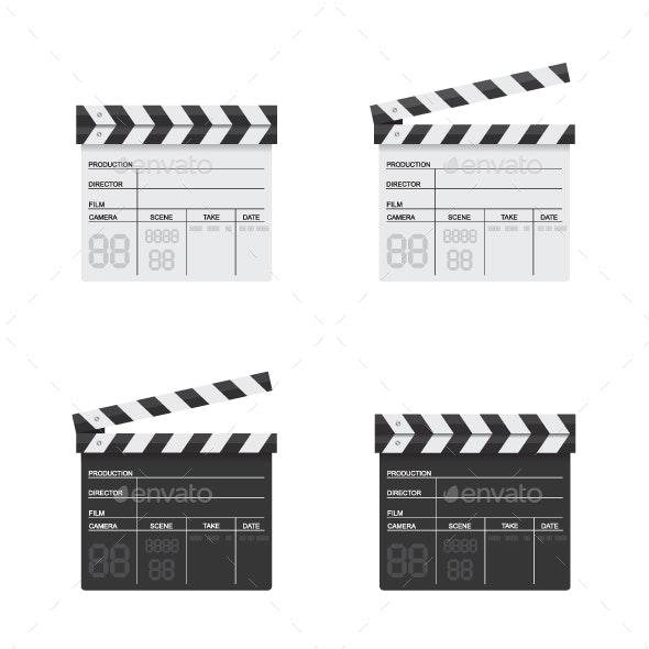 Clapper Board Black and White Illustration - Man-made Objects Objects