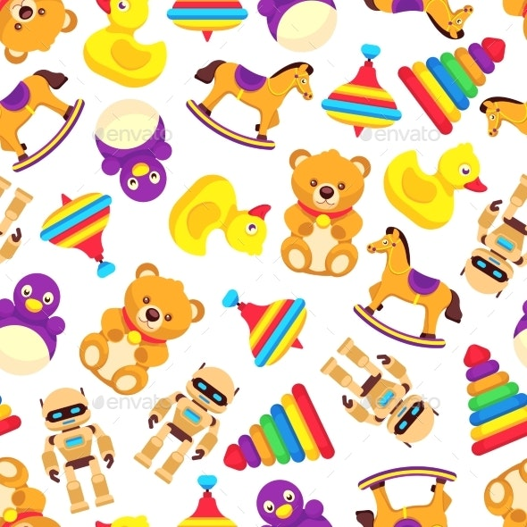 Popular Baby Toys Seamless Pattern - Backgrounds Decorative