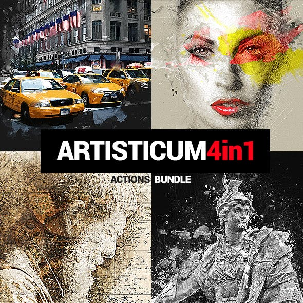 Artisticum - 4in1 Photoshop Actions Bundle