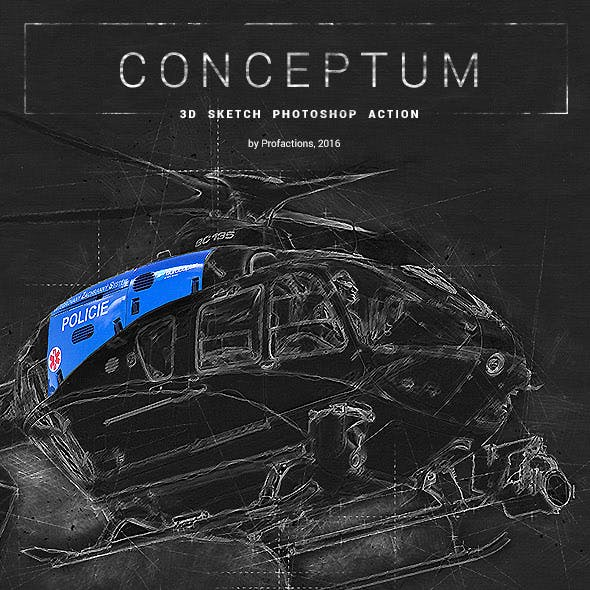 3D Sketch - Conceptum - Photoshop Action