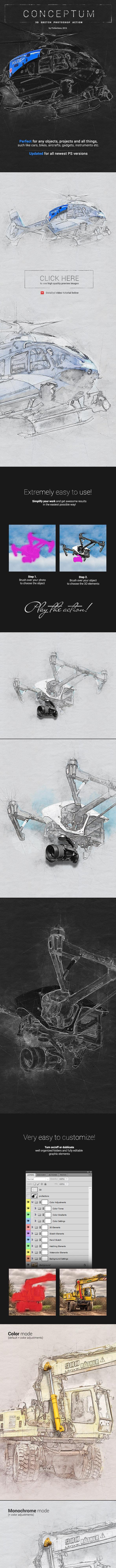 3D Sketch - Conceptum - Photoshop Action - Photo Effects Actions