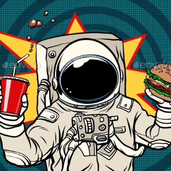 Astronaut with a Burger and Drink