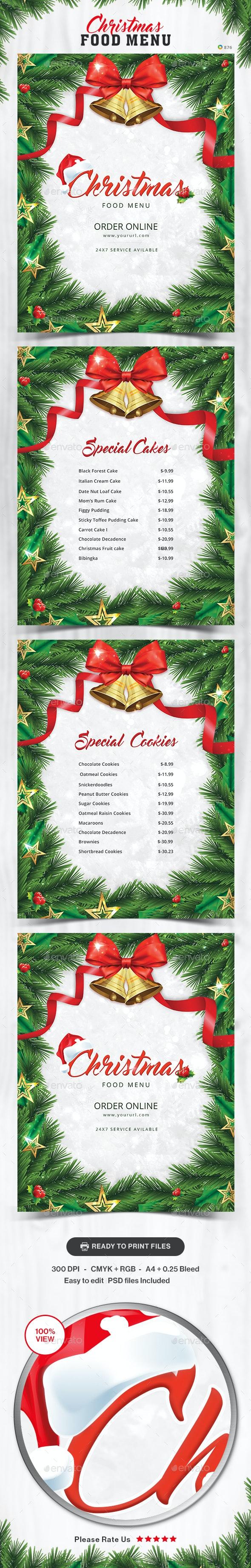 Christmas Food Menu Design Template - Food Menus Print Templates