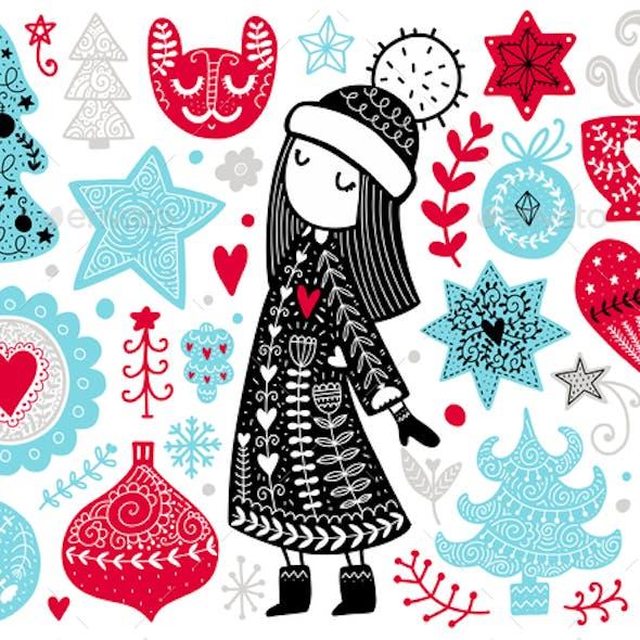 Scandinavian Christmas Illustration