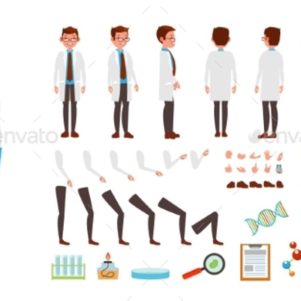 Scientist Man Vector Animated Character Creation