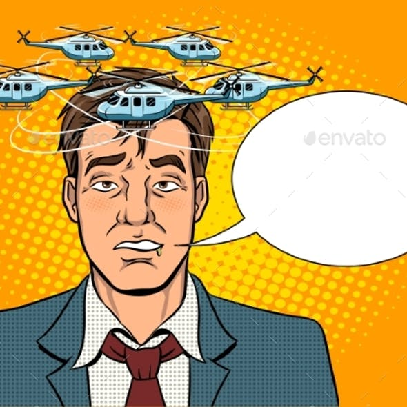 Drunk Man with Helicopters Pop Art Vector