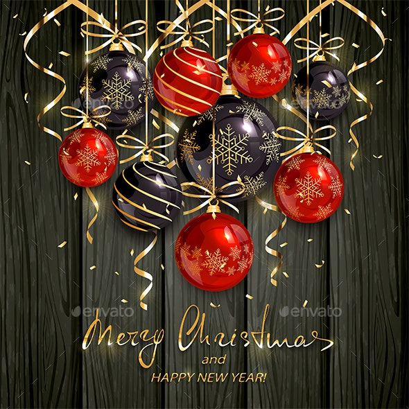 Black Christmas Balls.Red And Black Christmas Balls And Golden Streamers On Black Wooden Background