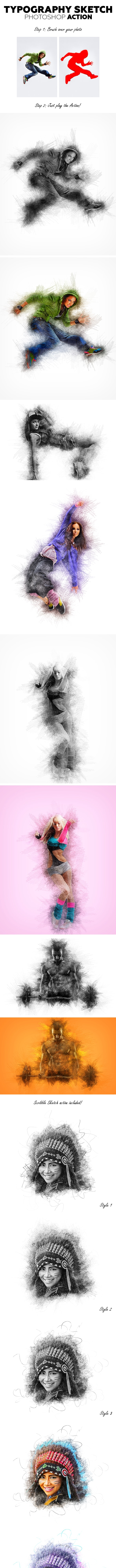 Typography Sketch Photoshop Action - Photo Effects Actions