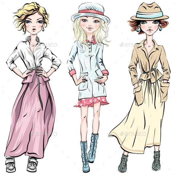 Vector Set of Fashionable Girls