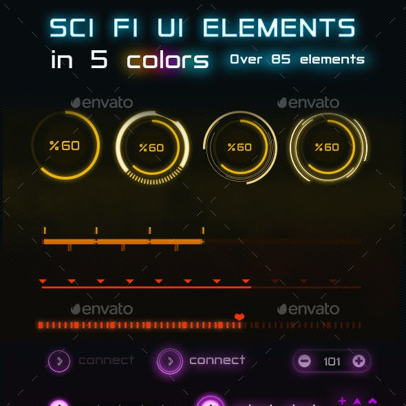 85+ Sci-Fi Game UI Elements Pack