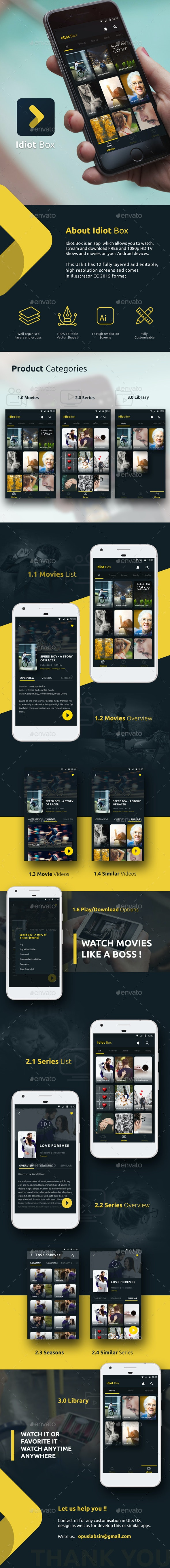 Online Movie / Video Streaming App | Idiot Box - User Interfaces Web Elements