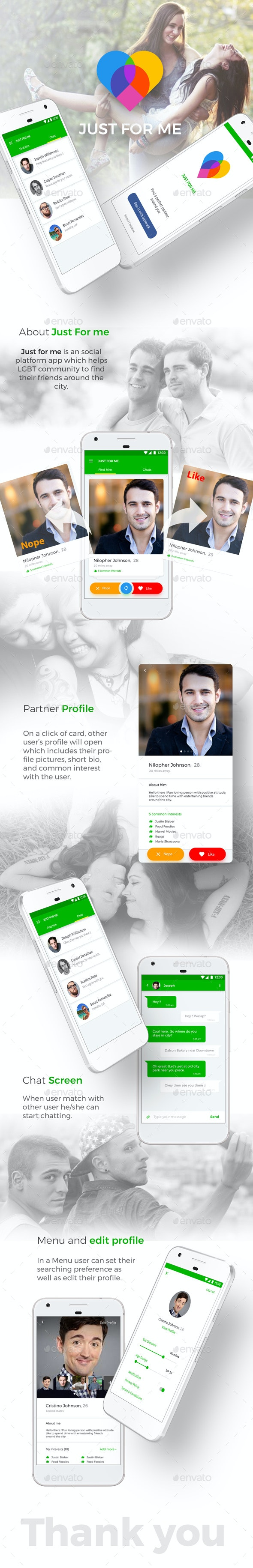 Dating App UI Kit like Tinder | Just For Me for Android + iOS