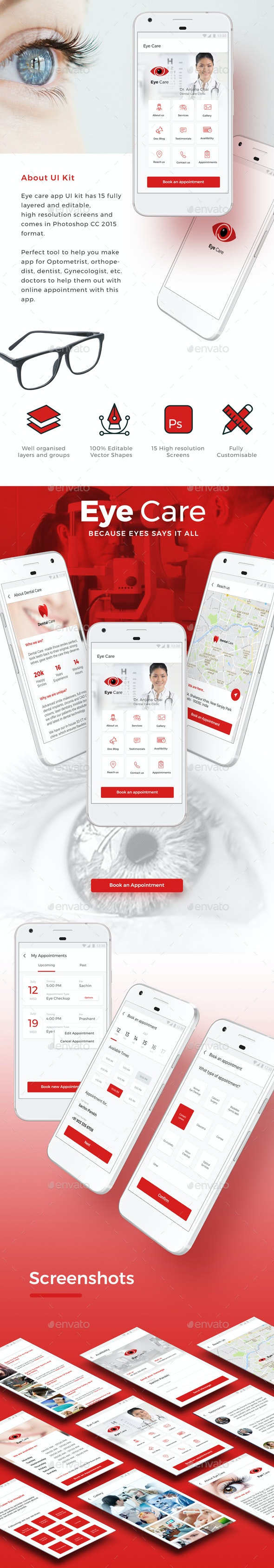 Eye Doctor App UI Set Optometrist  Ophthalmologist Care iOS + Android App - User Interfaces Web Elements