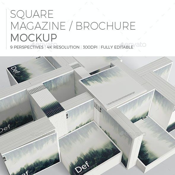 Realistic Square Magazine/Brochure Mockup