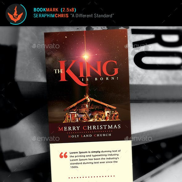 The King is Born Christmas Bookmark Template