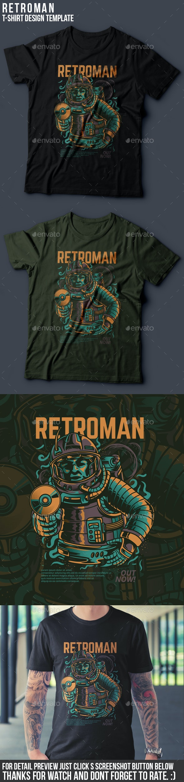 Retroman T-Shirt Design - Grunge Designs