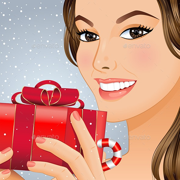 Christmas Girl with Gift Box - Christmas Seasons/Holidays