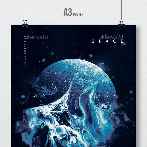 Sound Of Space - Progressive Party Flyer / Poster Template A3