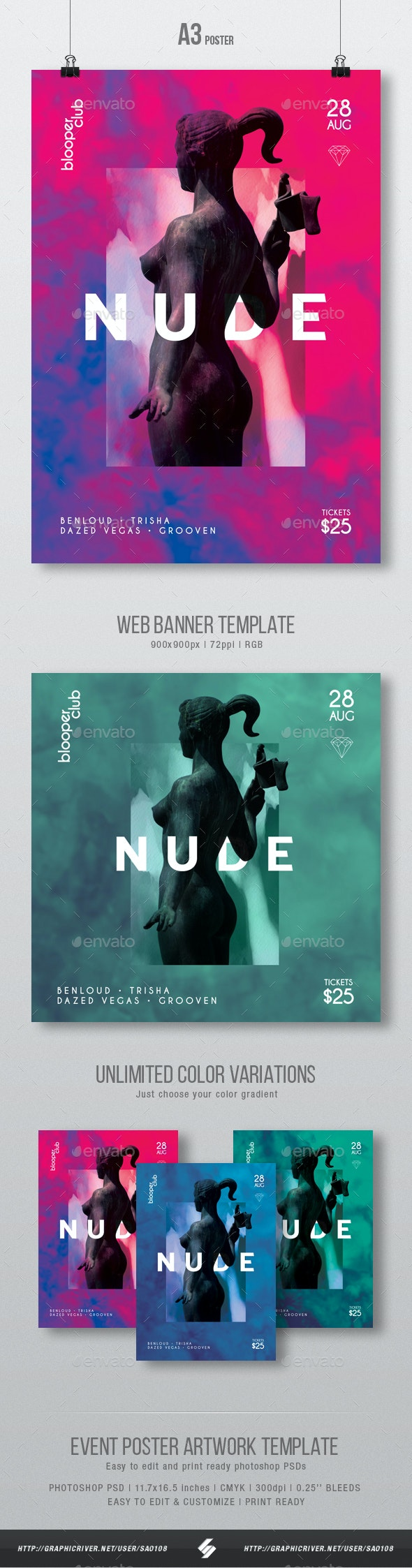Nude - Creative Party Flyer / Poster Artwork Template A3 - Events Flyers